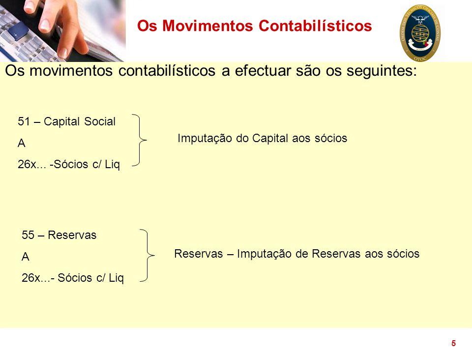 5 Os movimentos contabilísticos a efectuar são os seguintes: 51 – Capital Social A 26x... -Sócios c/ Liq Imputação do Capital aos sócios 55 – Reservas
