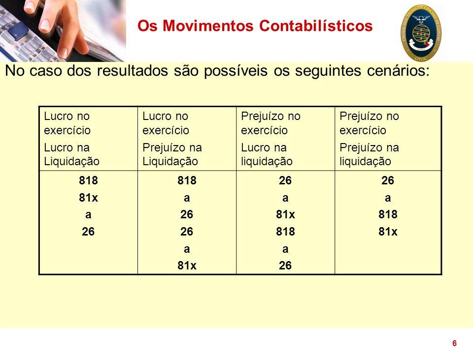 6 No caso dos resultados são possíveis os seguintes cenários: Os Movimentos Contabilísticos Lucro no exercício Lucro na Liquidação Lucro no exercício