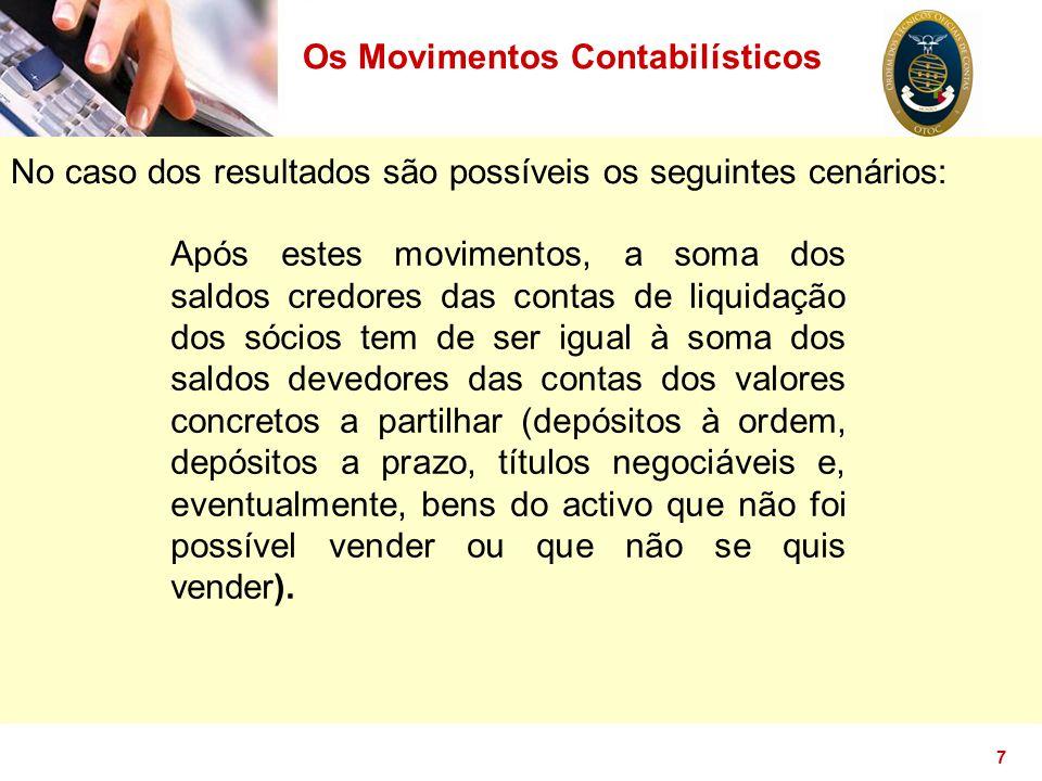 7 No caso dos resultados são possíveis os seguintes cenários: Os Movimentos Contabilísticos Após estes movimentos, a soma dos saldos credores das cont
