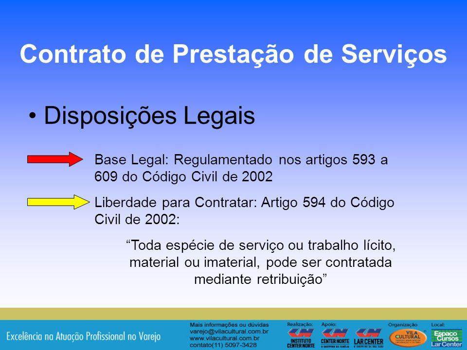 10 Disposições Legais Contrato de Prestação de Serviços Base Legal: Regulamentado nos artigos 593 a 609 do Código Civil de 2002 Liberdade para Contrat