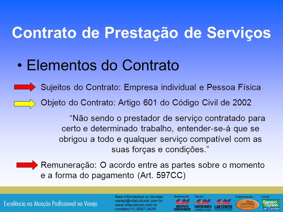 11 Elementos do Contrato Contrato de Prestação de Serviços Sujeitos do Contrato: Empresa individual e Pessoa Física Objeto do Contrato: Artigo 601 do