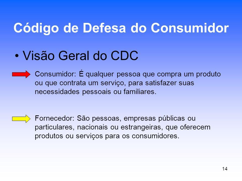 14 Visão Geral do CDC Código de Defesa do Consumidor Consumidor: É qualquer pessoa que compra um produto ou que contrata um serviço, para satisfazer s