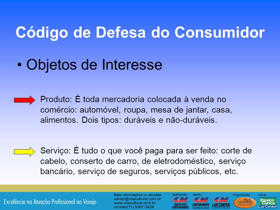 15 Objetos de Interesse Código de Defesa do Consumidor Produto: É toda mercadoria colocada à venda no comércio: automóvel, roupa, mesa de jantar, casa