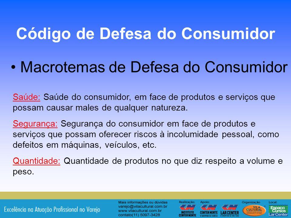 16 Macrotemas de Defesa do Consumidor Código de Defesa do Consumidor Saúde: Saúde do consumidor, em face de produtos e serviços que possam causar male