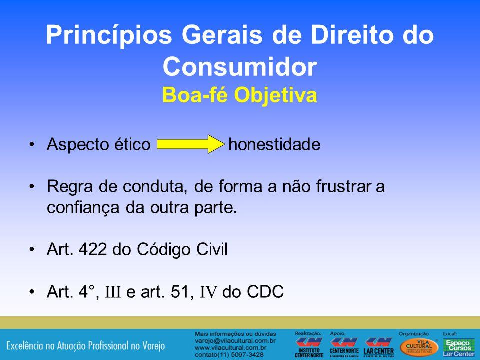 19 Princípios Gerais de Direito do Consumidor Boa-fé Objetiva Aspecto ético honestidade Regra de conduta, de forma a não frustrar a confiança da outra
