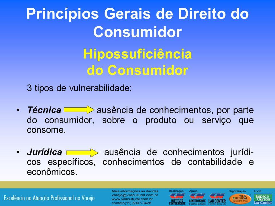 20 Princípios Gerais de Direito do Consumidor Hipossuficiência do Consumidor 3 tipos de vulnerabilidade: Técnica ausência de conhecimentos, por parte