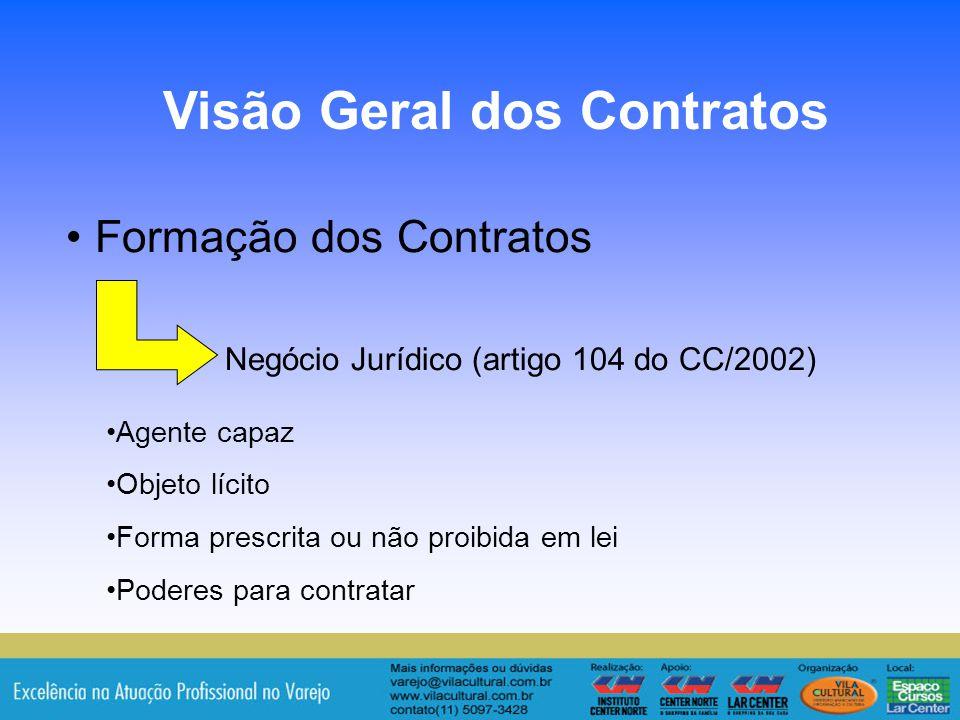 4 Formação dos Contratos Negócio Jurídico (artigo 104 do CC/2002) Visão Geral dos Contratos Agente capaz Objeto lícito Forma prescrita ou não proibida