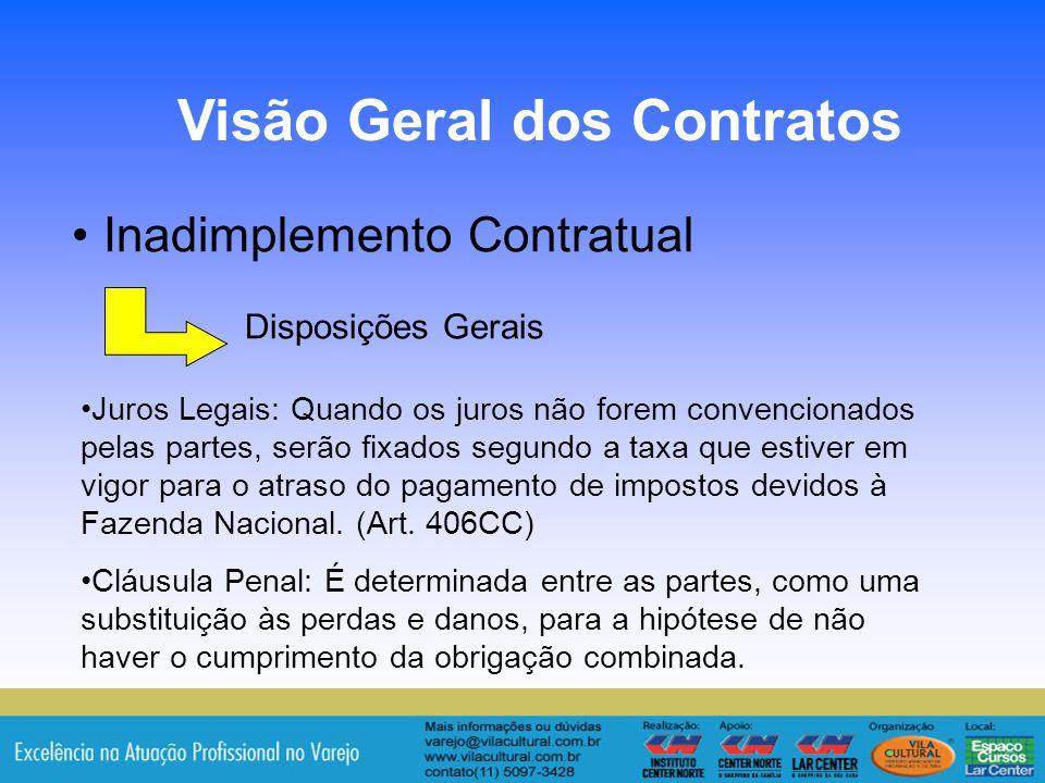 8 Inadimplemento Contratual Disposições Gerais Visão Geral dos Contratos Juros Legais: Quando os juros não forem convencionados pelas partes, serão fi