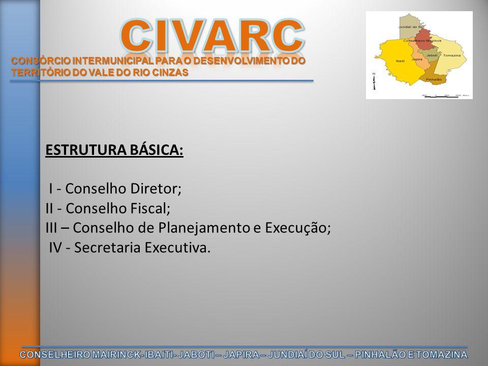 CONSÓRCIO INTERMUNICIPAL PARA O DESENVOLVIMENTO DO TERRITÓRIO DO VALE DO RIO CINZAS ESTRUTURA BÁSICA: I - Conselho Diretor; II - Conselho Fiscal; III