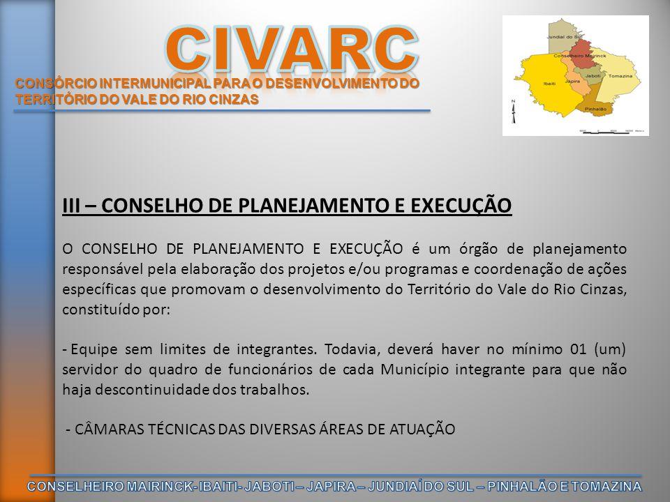 CONSÓRCIO INTERMUNICIPAL PARA O DESENVOLVIMENTO DO TERRITÓRIO DO VALE DO RIO CINZAS III – CONSELHO DE PLANEJAMENTO E EXECUÇÃO O CONSELHO DE PLANEJAMEN