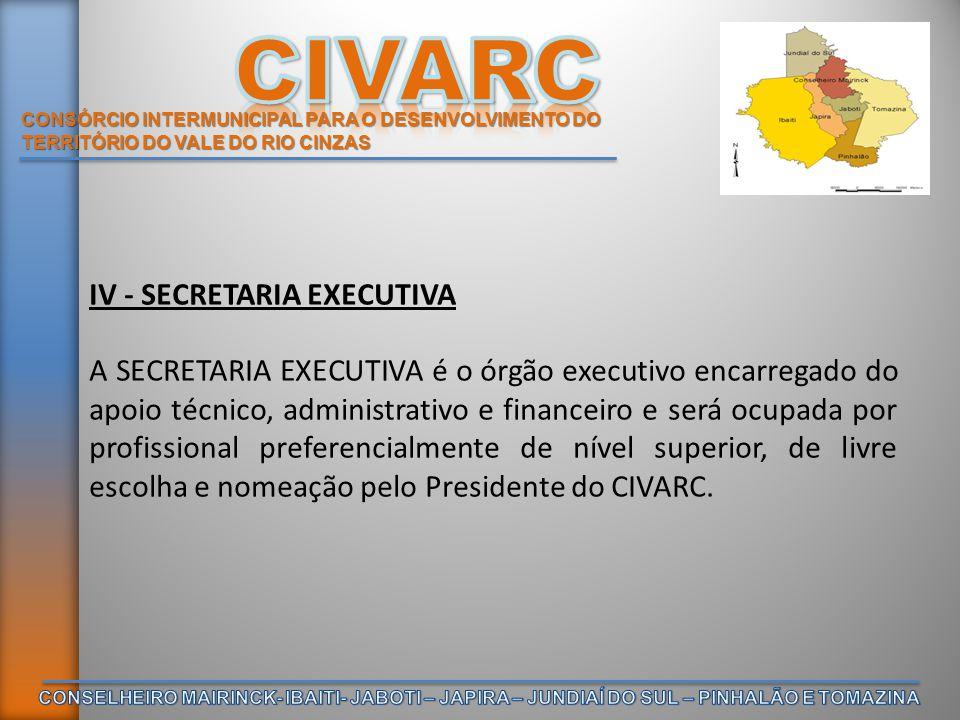 CONSÓRCIO INTERMUNICIPAL PARA O DESENVOLVIMENTO DO TERRITÓRIO DO VALE DO RIO CINZAS IV - SECRETARIA EXECUTIVA A SECRETARIA EXECUTIVA é o órgão executi