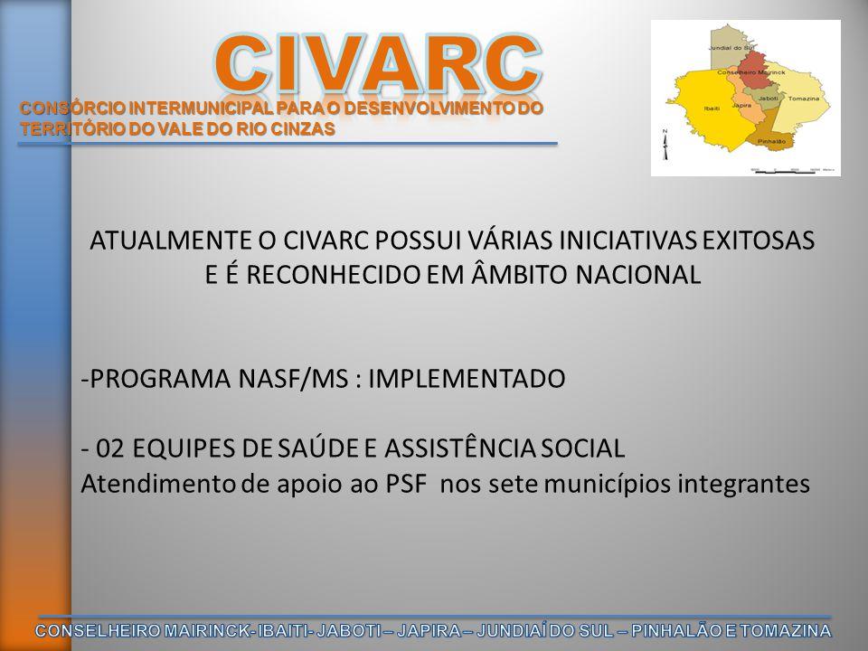 CONSÓRCIO INTERMUNICIPAL PARA O DESENVOLVIMENTO DO TERRITÓRIO DO VALE DO RIO CINZAS ATUALMENTE O CIVARC POSSUI VÁRIAS INICIATIVAS EXITOSAS E É RECONHE