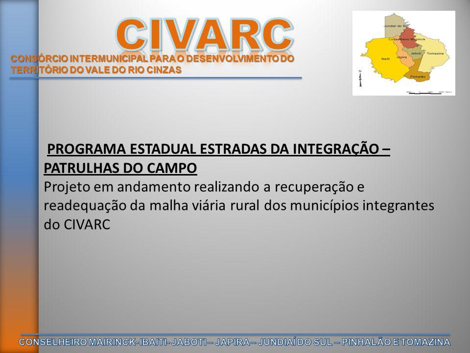 CONSÓRCIO INTERMUNICIPAL PARA O DESENVOLVIMENTO DO TERRITÓRIO DO VALE DO RIO CINZAS PROGRAMA ESTADUAL ESTRADAS DA INTEGRAÇÃO – PATRULHAS DO CAMPO Proj
