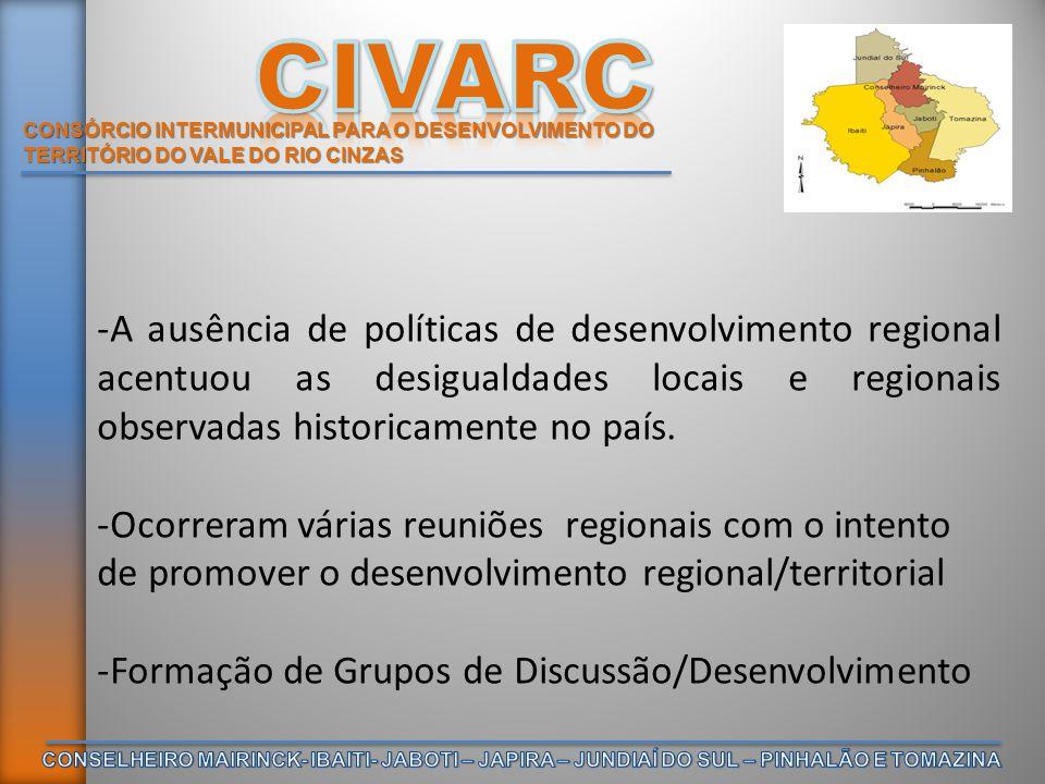 CONSÓRCIO INTERMUNICIPAL PARA O DESENVOLVIMENTO DO TERRITÓRIO DO VALE DO RIO CINZAS -A ausência de políticas de desenvolvimento regional acentuou as d