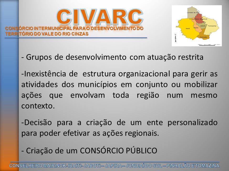 CONSÓRCIO INTERMUNICIPAL PARA O DESENVOLVIMENTO DO TERRITÓRIO DO VALE DO RIO CINZAS - Grupos de desenvolvimento com atuação restrita -Inexistência de
