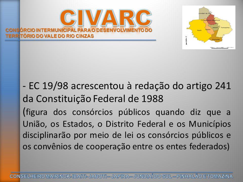 CONSÓRCIO INTERMUNICIPAL PARA O DESENVOLVIMENTO DO TERRITÓRIO DO VALE DO RIO CINZAS Somente sete anos após a edição da EC editou- se a Lei Federal 11.107/05 que dispõe sobre as normas gerais de contratação de consórcios públicos regulamentada pelo Decreto 6.017, de 17 de janeiro de 2007.