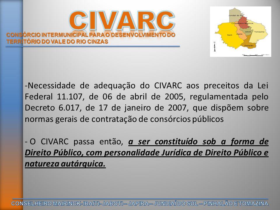 CONSÓRCIO INTERMUNICIPAL PARA O DESENVOLVIMENTO DO TERRITÓRIO DO VALE DO RIO CINZAS -EM 04/02/2008 – FORMALIZAÇÃO DO PROTOCOLO DE INTENÇÕES DO CONSÓRCIO PÚBLICO INTERMUNICIPAL PARA O DESENVOLVIMENTO DO TERRITÓRIO DO VALE DO RIO CINZAS (CIVARC) - RATIFICAÇÃO através das seguintes Leis Municipais: a) Município de Conselheiro Mairinck, Lei nº 376/2008, de 05/08/2008; b) Município de Ibaiti, Lei nº510/2008, de 09/04/2008; c) Município de Japira, Lei n°936/2008, de 11/03/2008; d) Município de Jaboti, Lei nº05/2008, de12/03/2008; e) Município de Jundiaí do Sul, Lei nº 319/2008, de 17/06/2008; f) Município de Pinhalão, Lei nº 603/2008, de 18/03/2008; g) Município de Tomazina, Lei nº 249/2008, de 07/08/2008.