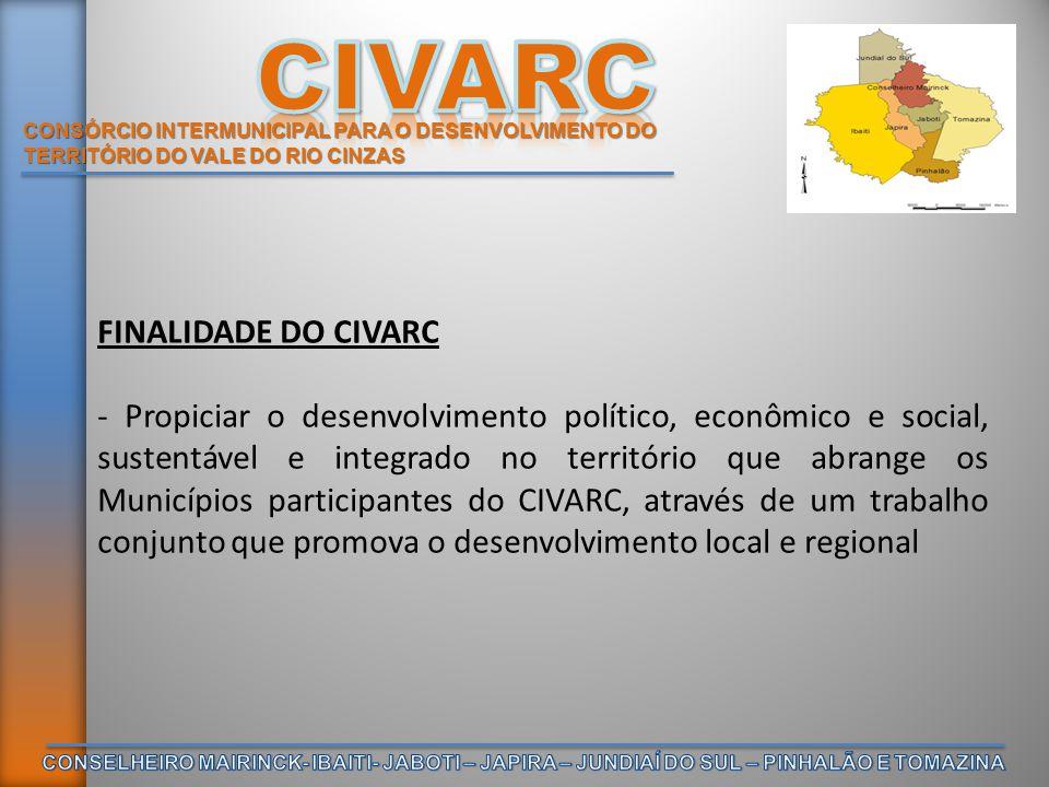 CONSÓRCIO INTERMUNICIPAL PARA O DESENVOLVIMENTO DO TERRITÓRIO DO VALE DO RIO CINZAS FINALIDADE DO CIVARC - Propiciar o desenvolvimento político, econô