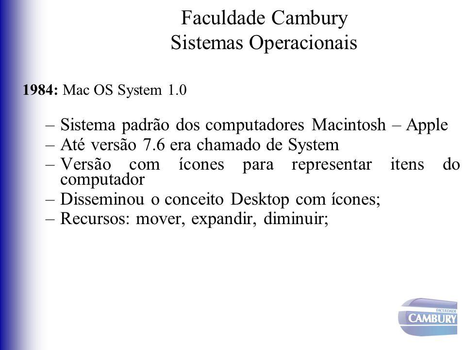 Faculdade Cambury Sistemas Operacionais 1984: Mac OS System 1.0 –Sistema padrão dos computadores Macintosh – Apple –Até versão 7.6 era chamado de Syst
