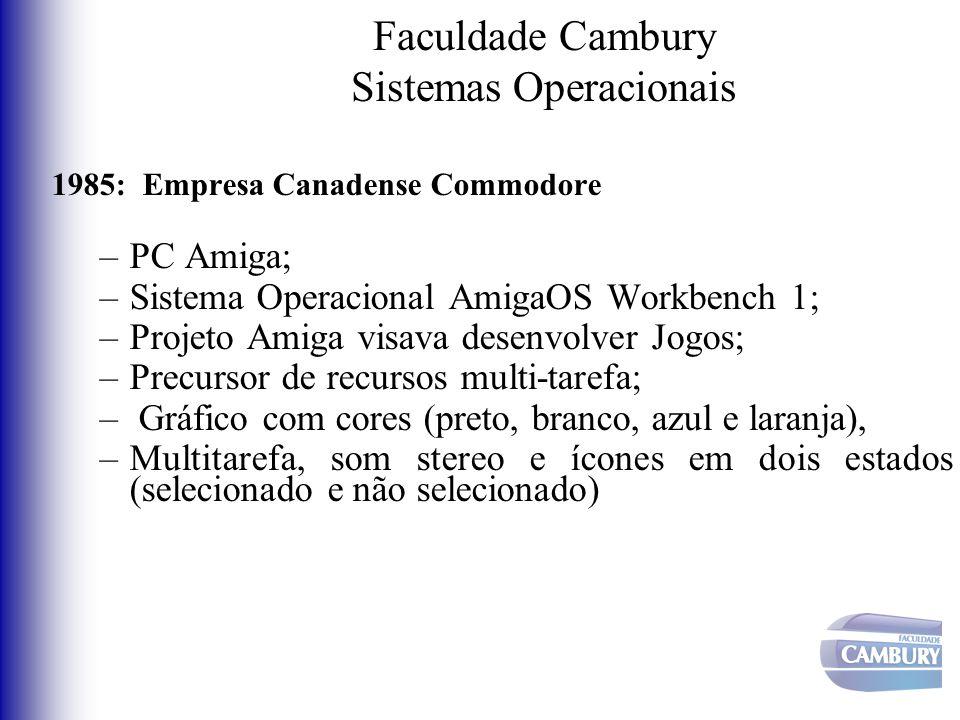 Faculdade Cambury Sistemas Operacionais 1985: Empresa Canadense Commodore –PC Amiga; –Sistema Operacional AmigaOS Workbench 1; –Projeto Amiga visava d