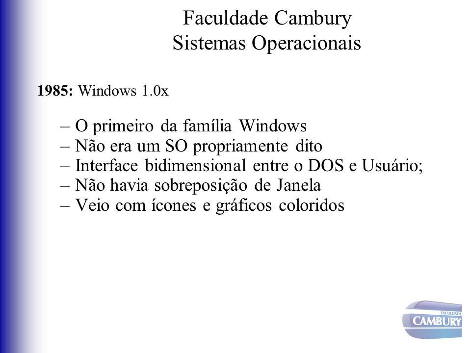 Faculdade Cambury Sistemas Operacionais 1985: Windows 1.0x –O primeiro da família Windows –Não era um SO propriamente dito –Interface bidimensional en