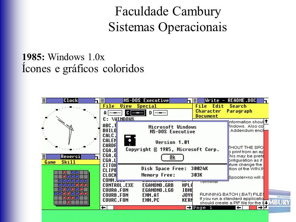 Faculdade Cambury Sistemas Operacionais 1985: Windows 1.0x Ícones e gráficos coloridos