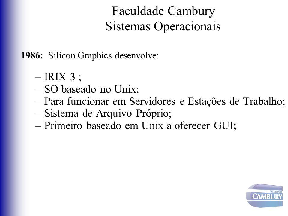 Faculdade Cambury Sistemas Operacionais 1986: Silicon Graphics desenvolve: –IRIX 3 ; –SO baseado no Unix; –Para funcionar em Servidores e Estações de
