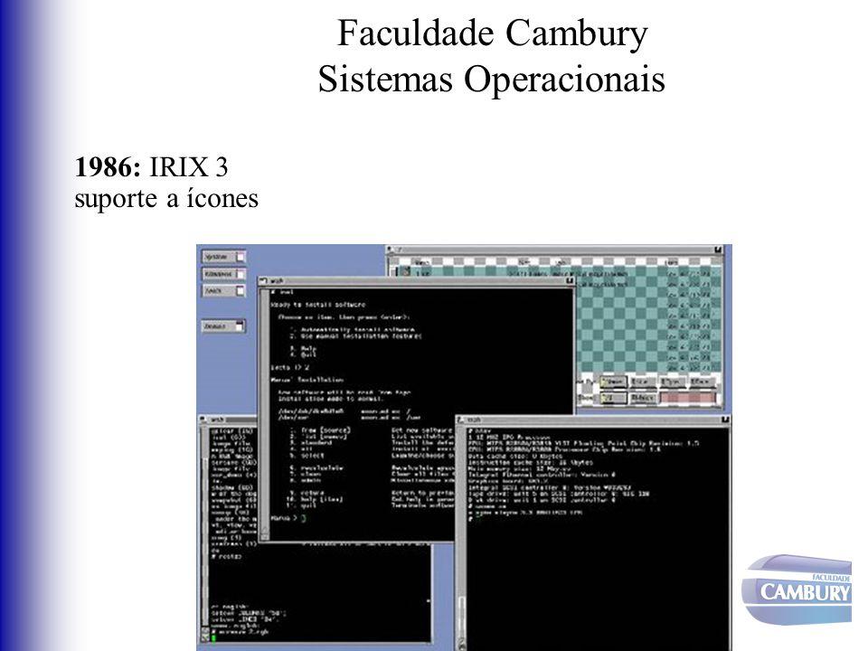 Faculdade Cambury Sistemas Operacionais 1986: IRIX 3 suporte a ícones
