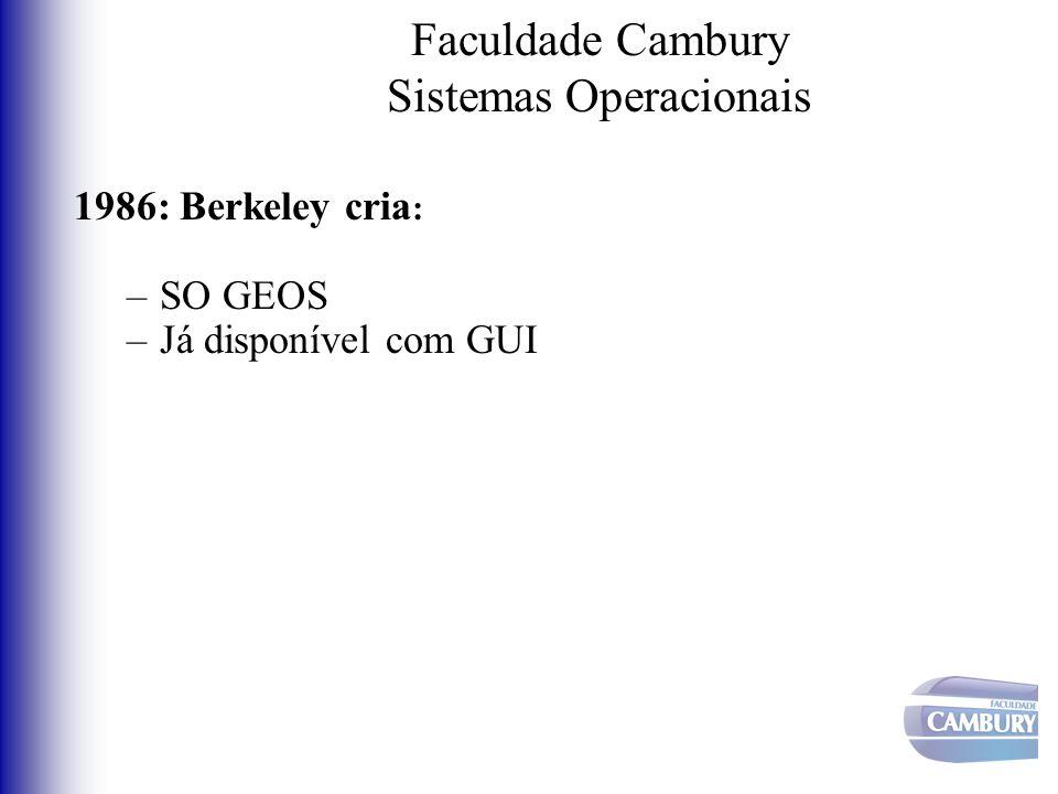Faculdade Cambury Sistemas Operacionais 1986: Berkeley cria : –SO GEOS –Já disponível com GUI