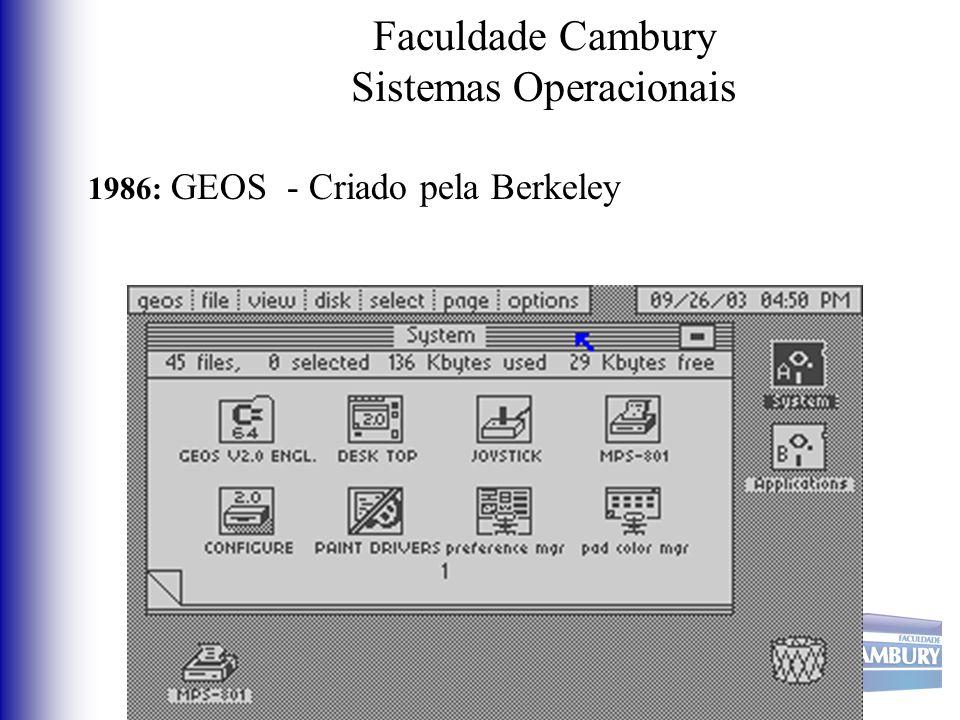 Faculdade Cambury Sistemas Operacionais 1986: GEOS - Criado pela Berkeley