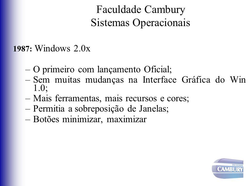 Faculdade Cambury Sistemas Operacionais 1987: Windows 2.0x –O primeiro com lançamento Oficial; –Sem muitas mudanças na Interface Gráfica do Win 1.0; –