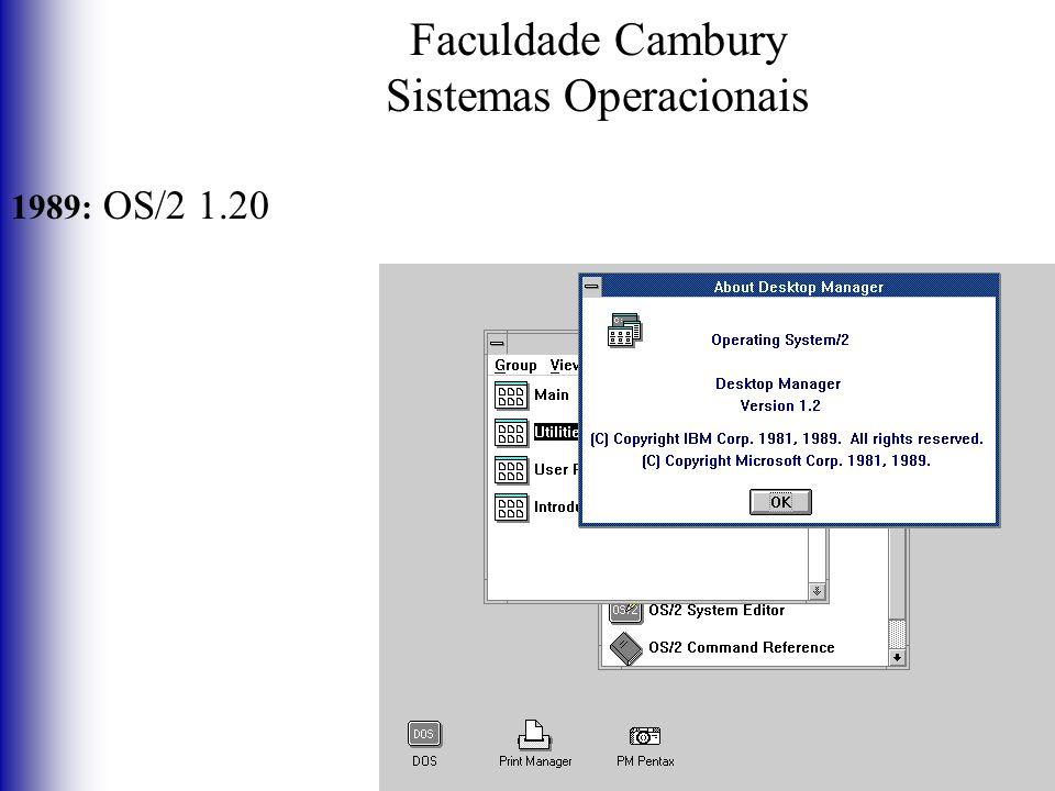 Faculdade Cambury Sistemas Operacionais 1989: OS/2 1.20