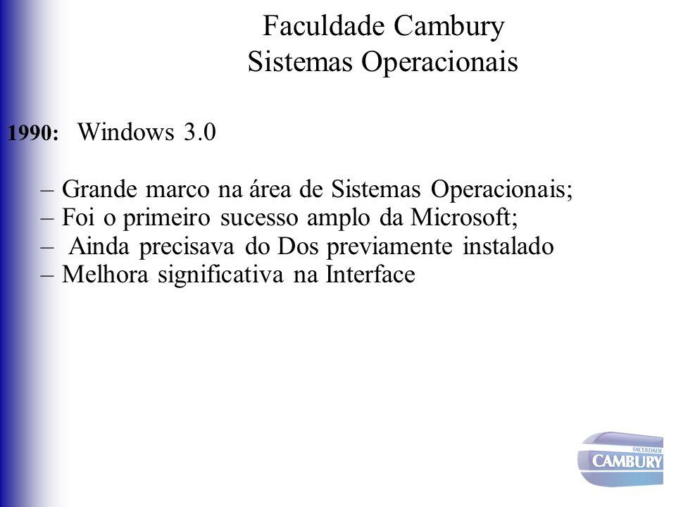 Faculdade Cambury Sistemas Operacionais 1990: Windows 3.0 –Grande marco na área de Sistemas Operacionais; –Foi o primeiro sucesso amplo da Microsoft;