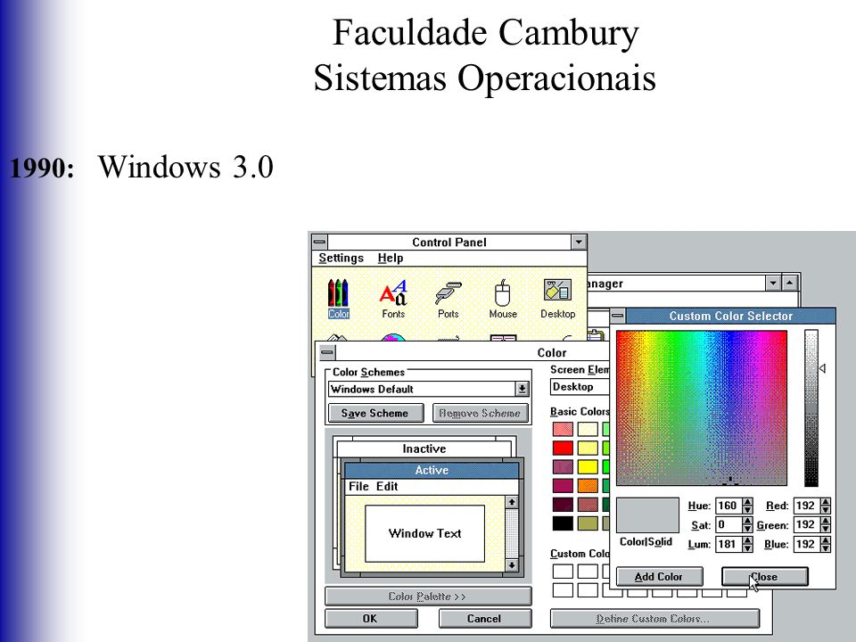 Faculdade Cambury Sistemas Operacionais 1990: Windows 3.0