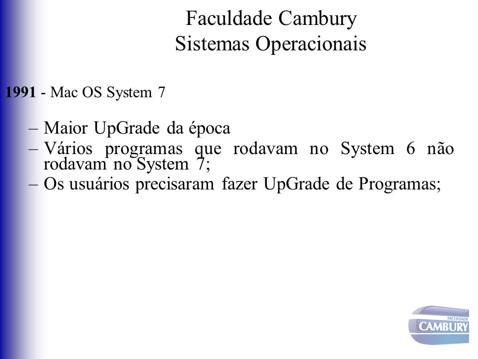 Faculdade Cambury Sistemas Operacionais 1991 - Mac OS System 7 –Maior UpGrade da época –Vários programas que rodavam no System 6 não rodavam no System