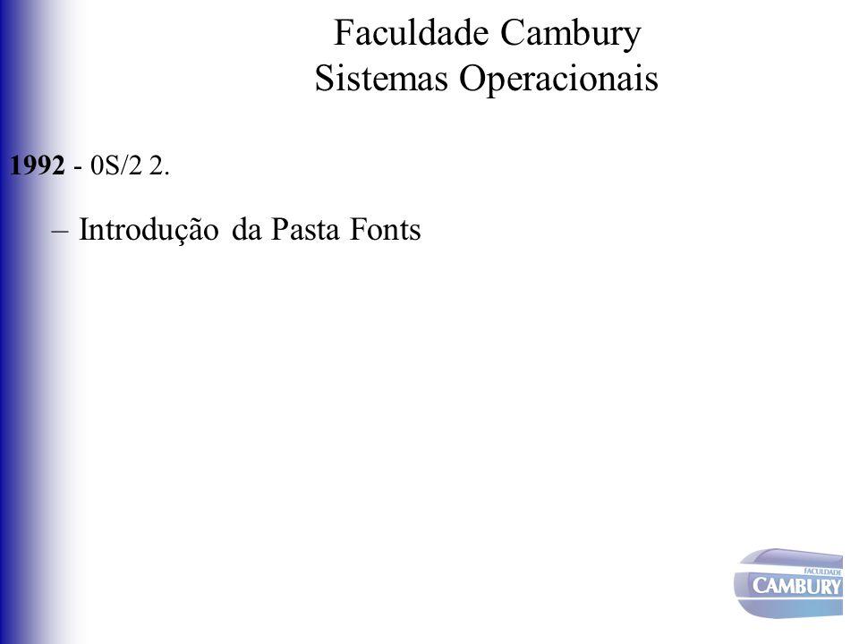 Faculdade Cambury Sistemas Operacionais 1992 - 0S/2 2. –Introdução da Pasta Fonts