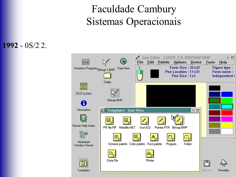 Faculdade Cambury Sistemas Operacionais 1992 - 0S/2 2.