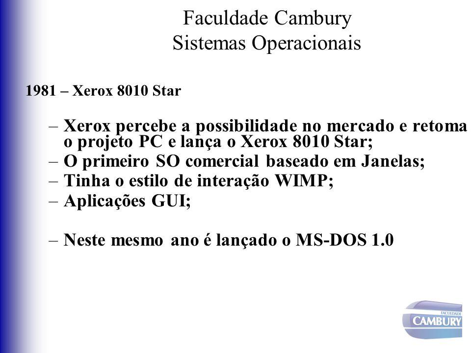 Faculdade Cambury Sistemas Operacionais 1981 – Xerox 8010 Star –Xerox percebe a possibilidade no mercado e retoma o projeto PC e lança o Xerox 8010 St