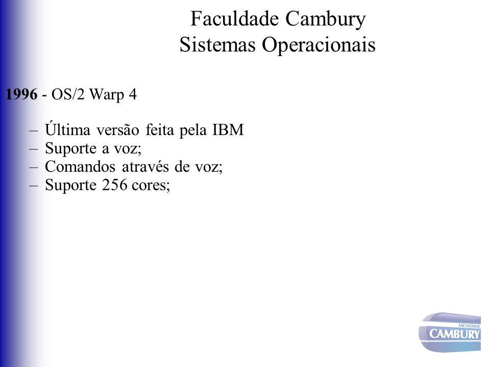 Faculdade Cambury Sistemas Operacionais 1996 - OS/2 Warp 4 –Última versão feita pela IBM –Suporte a voz; –Comandos através de voz; –Suporte 256 cores;