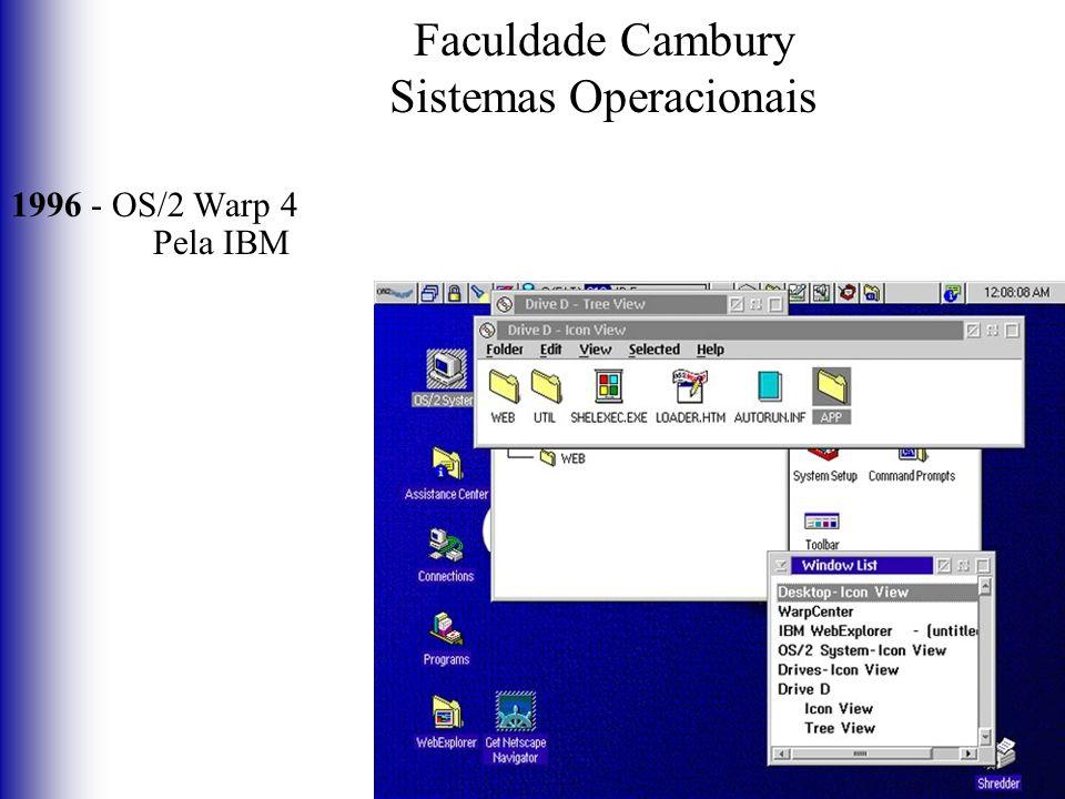 Faculdade Cambury Sistemas Operacionais 1996 - OS/2 Warp 4 Pela IBM