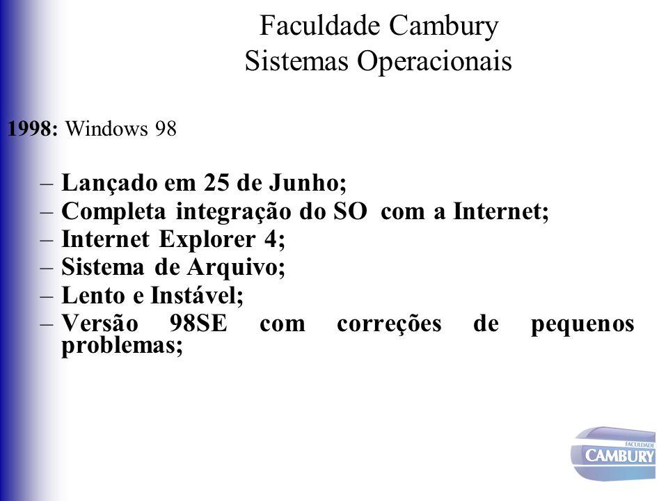 Faculdade Cambury Sistemas Operacionais 1998: Windows 98 –Lançado em 25 de Junho; –Completa integração do SO com a Internet; –Internet Explorer 4; –Si
