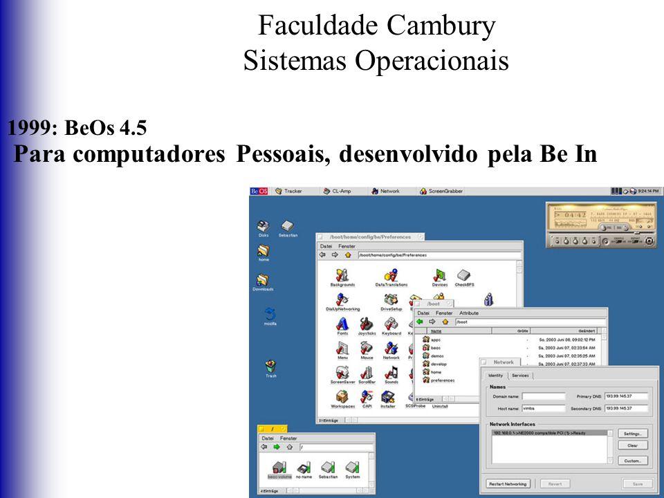 Faculdade Cambury Sistemas Operacionais 1999: BeOs 4.5 Para computadores Pessoais, desenvolvido pela Be In