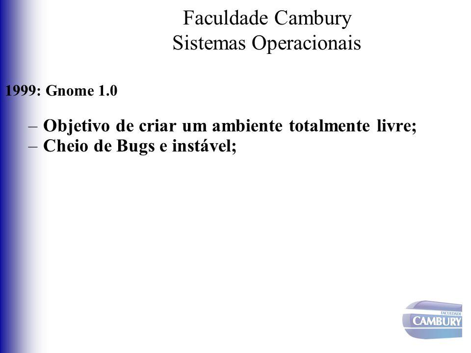Faculdade Cambury Sistemas Operacionais 1999: Gnome 1.0 –Objetivo de criar um ambiente totalmente livre; –Cheio de Bugs e instável;