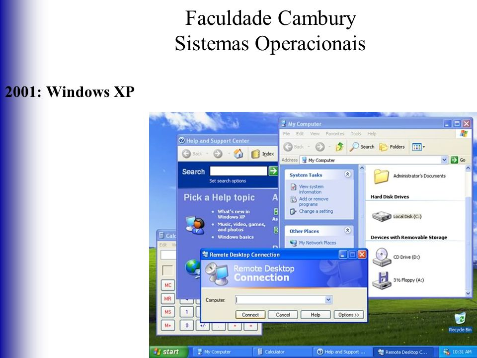 Faculdade Cambury Sistemas Operacionais 2001: Windows XP