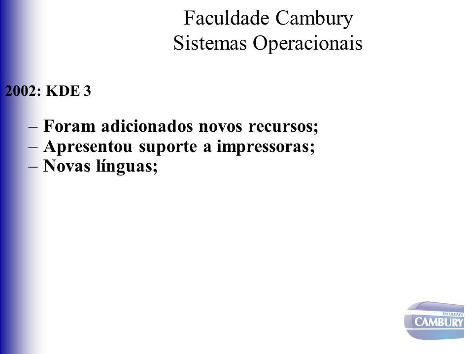 Faculdade Cambury Sistemas Operacionais 2002: KDE 3 –Foram adicionados novos recursos; –Apresentou suporte a impressoras; –Novas línguas;