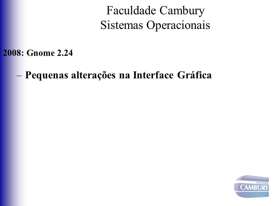Faculdade Cambury Sistemas Operacionais 2008: Gnome 2.24 –Pequenas alterações na Interface Gráfica