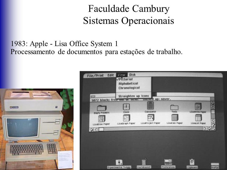 Faculdade Cambury Sistemas Operacionais 1983: Apple - Lisa Office System 1 Processamento de documentos para estações de trabalho.