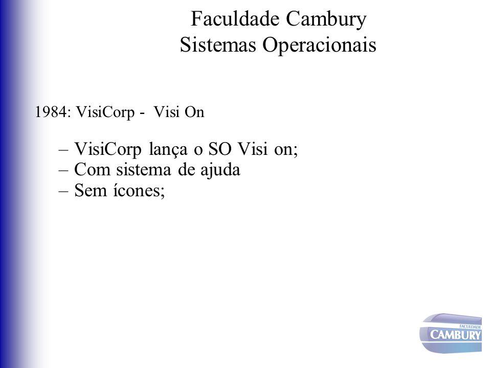 Faculdade Cambury Sistemas Operacionais 1984: VisiCorp - Visi On –VisiCorp lança o SO Visi on; –Com sistema de ajuda –Sem ícones;