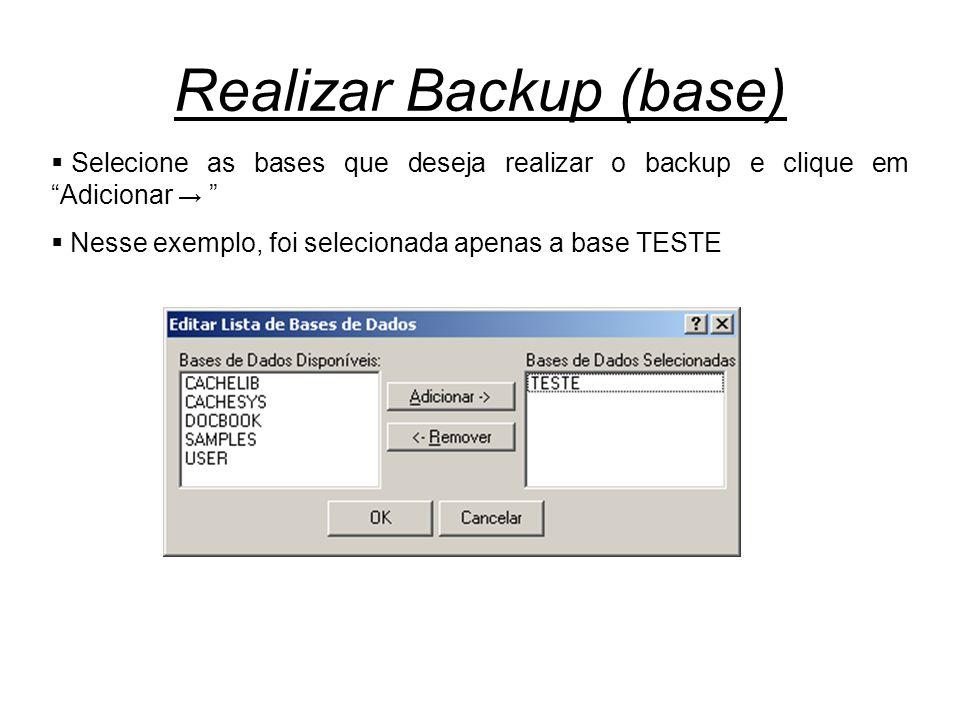 Realizar Backup (base)  Selecione as bases que deseja realizar o backup e clique em Adicionar →  Nesse exemplo, foi selecionada apenas a base TESTE