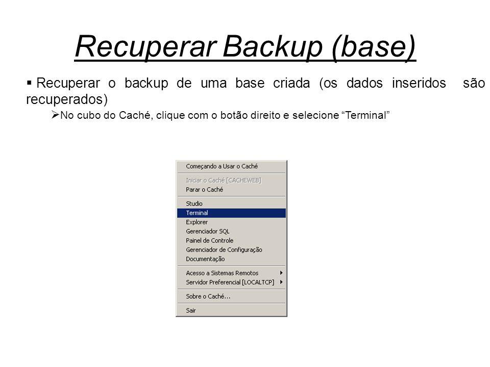 Recuperar Backup (base)  Recuperar o backup de uma base criada (os dados inseridos são recuperados)  No cubo do Caché, clique com o botão direito e